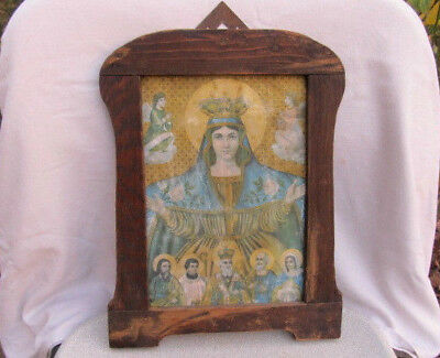 Antique Very Old Orthodox Wooden Printed Icon Church