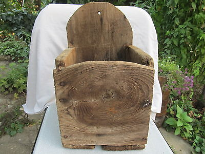 Antique Primitive Old Hand Carved Wooden Big Wall Hanging Kitchen Spoon Box