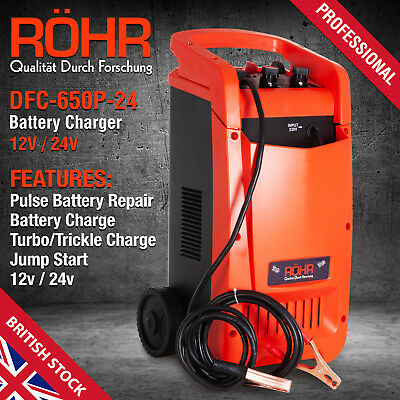 Car Battery Charger Heavy Duty 12V & 24V Trickle / Fast, Vehicle HGV Lorry AU438