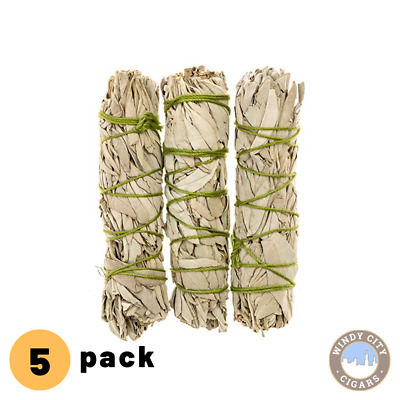 "White Sage Smudge Stick 4"" - 5""  5 pack, Herb House Cleansing Negativity Removal"