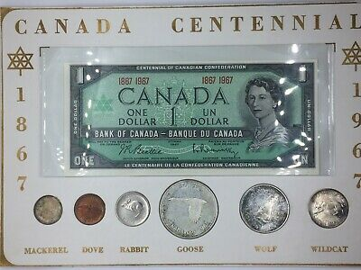 Canada 1967 Centennial Banknote and Silver Coin Set