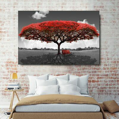 Canvas Paintings Red Tree Landscape Wall Art Posters Picture For Living Room