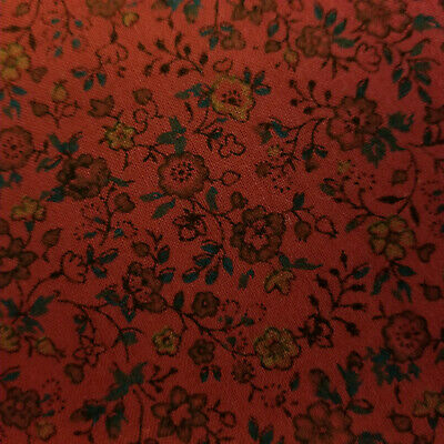 Burgundy With Blue & Yellow Flowers Calico SEWING FABRIC Quilt Cotton CRAFTS