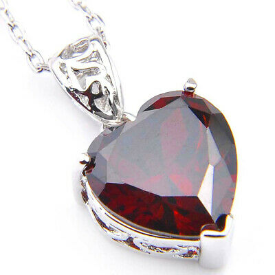 Woman Love Heart Shaped Fire Red Garnet Platinum Plated Necklace Pendants