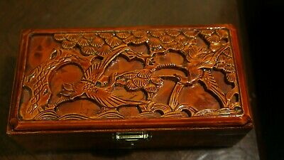 Vintage Chinese Cinnabar Carved Box w/Carved Figures 2 X 6 X 3