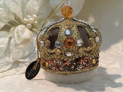 """Katherine's Collection Crown Christmas Ornament Gold Jeweled Sequins Glitter 3"""""""