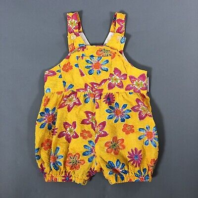 Vintage 90s Baby Girl Size 18M Yellow Floral One-Piece Summer Romper TKS Basics