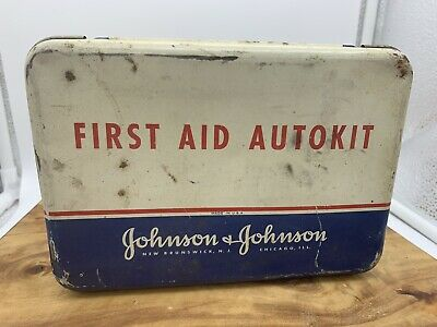 Vintage First Aid Autokit - Johnson & Johnson tin box 1942 - Contents Included