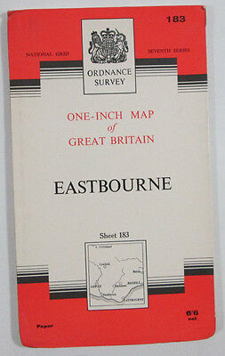 1965 Old Vintage OS Ordnance Survey Seventh Series One-Inch Map 183 Eastbourne