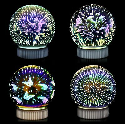 3D Night Light, Glass Lamp Magical Crystal Ball USB Power Colorful Sphere Table