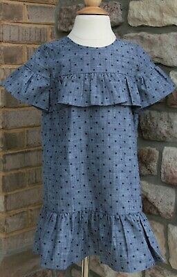 0dc641062 Kate Spade Little Girls Ruffle Denim Color Dress Size 5 Brand New with Tag