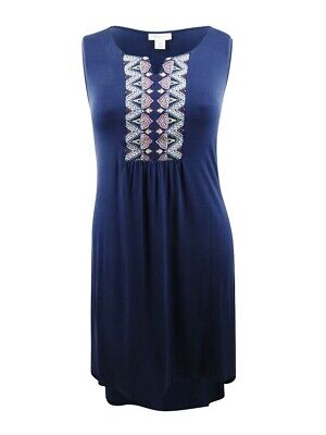 Style & Co. Women's Plus Size Embroidered Swing Dress 1X, Industrial Blue