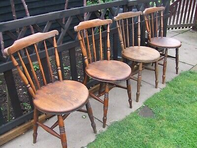 4 antique elm seated penny chairs
