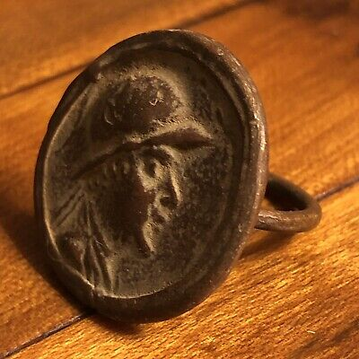 Ancient Greek Or Roman Style Coin Ring Artifact Antique Old Wax Seal Emperor