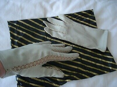 Vintage Lace and Leatherette Gloves. Off-white in colour.