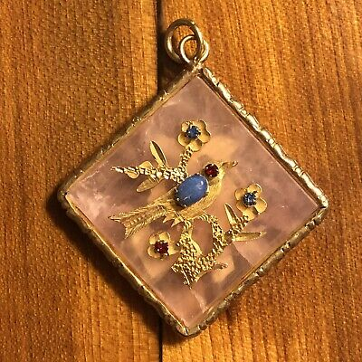 Old Antique Vintage Chinese Gemstone Pendant Or Charm Pink Bird Gold Tone Asian