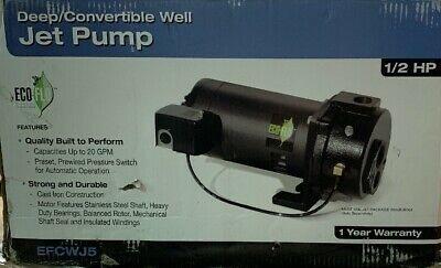 ECO FLO 1/2 HP Convertible Deep Well Jet Pump 20GPM Cast Iron Durable (TV)