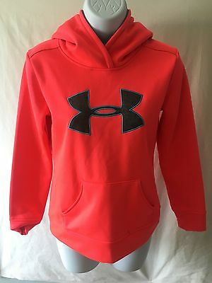 Under Armour brand Girls Hoodie Size S Long Sleeve Florescent Pink Style 1224779