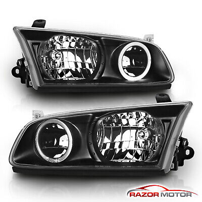 [LED Halo]For 2000 2001 Toyota Camry Black LED Halo Ring Headlights+CDRL Set