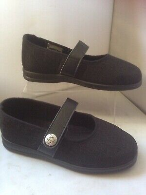 Ladies Cosyfeet Koryl Size 5 extra roomy  Slipper Shoes Black Weave Comfort