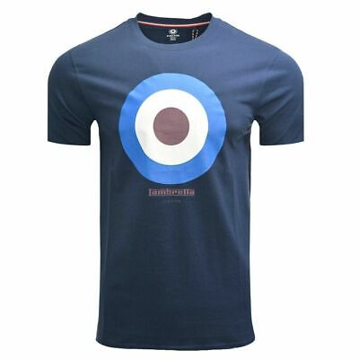 MENS LAMBRETTA BASEBALL COLLAR TARGET LOGO COTTON POLO SHIRT SS 5165 NAVY BLUE
