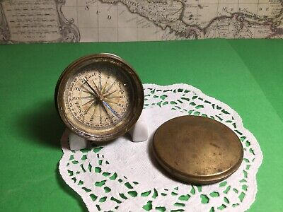 Vintage Pocket Size Brass Compass With Lid Nice Patina