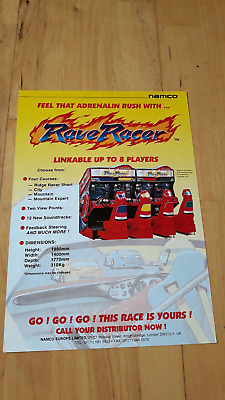 Namco Rave Racer 4 Player Arcade Dedicated Cabinet A4 Sales Flyer  (Very Rare)