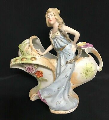 Antique German Bisque Lady Figurine Doll Ornate Art Nouveau Planter Organic