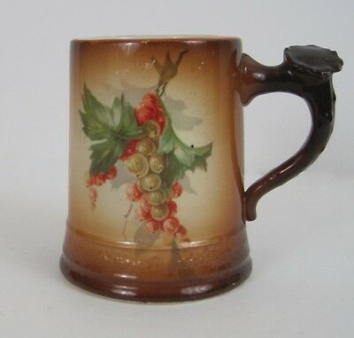 Antique Homer Laughlin Art China Currant Brown Stein Cup Mug Stag Horn Handle
