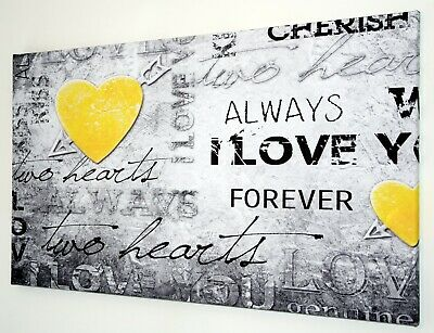 Yellow Love Heart  Script Verse Canvas Print Wall Art  Picture 18 X 32 Inch
