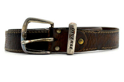 Vintage Handmade Mens Real Leather Belt Brown Size 34