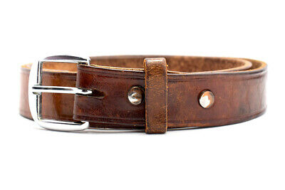Vintage Handmade Real Leather Belt Brown Size 32