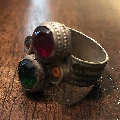 Old Antique Middle Eastern Medieval Style Ring With Stones Islamic Arabic Rare!