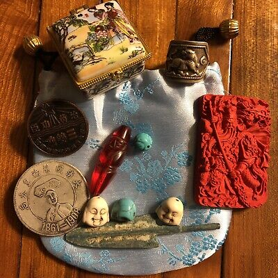 Old Antique Style Vintage Junk Drawer Lot Chinese Asian Collectibles Jewelry