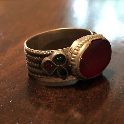 Antique Medieval Style Ring With Red Stone European Old Artifact Type Jewelry