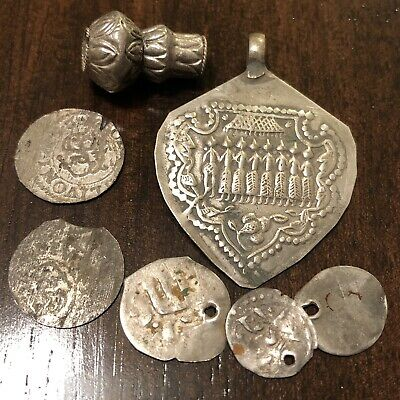 7 Silver Artifacts Lot Medieval Ancient Coins Beads Pendant Old Europe Et.al.