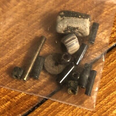 10 Black Ancient & Medieval Glass Bead Lot Byzantine Roman Venetian African Old