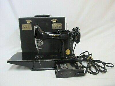 Vintage SINGER Portable Electric Sewing Machine 221=1 with Case & Gadgets