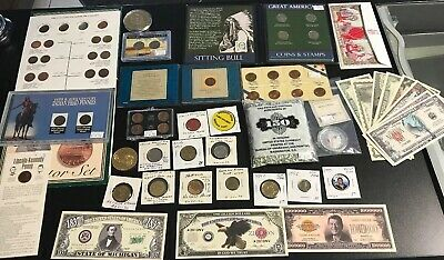 Lot Collection 45 Coins Bills Cents Nickels Novelty Money Tokens $120 Retail