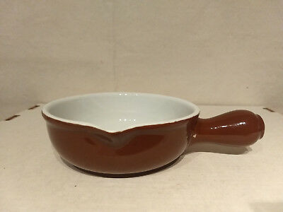 HALL China Brown Restaurant Ware Onion SOUP CHILI Handled Serving Bowl 2191 USA