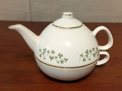 Royal Tara SHAMROCK Galway Ireland Individual TEAPOT w CUP Tea For One Stacking