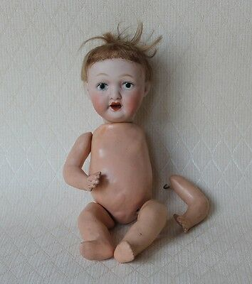 Antique Vtg Japanese Bisque Head Doll Composition Body Open Mouth Marked