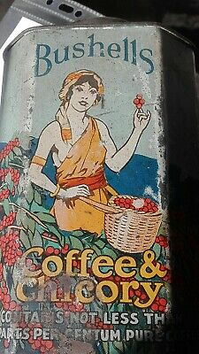 Antique Bushells Coffee & Chicory 1 lbs Tin circa 1910 LAST DAYS