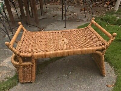 Vintage Wicker Rattan Laptop Bed Tray Desk With Magazine Rack