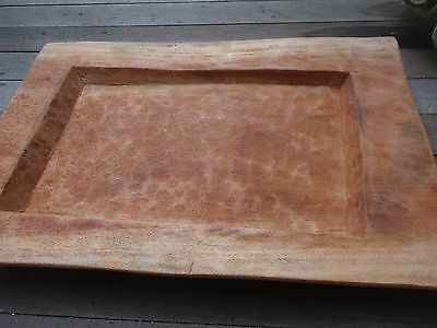 African Handmade Carved Wooden Bowl / Centerpiece / Platter 23 X 16.5 Inches