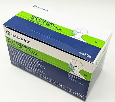 Lot of 10 Boxes Halyard The Lite One Procedure Masks in Blue 62356 (Box Qty 50)