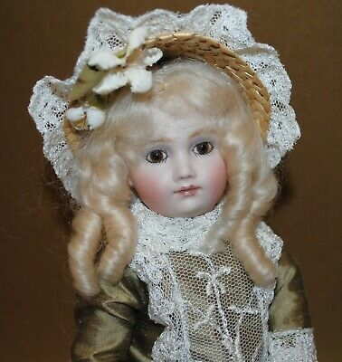 """Antique French Doll 10.25"""" Artist Made Reproduction Beautiful"""