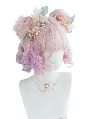 Lolita 30CM Short Wavy Light Purple Mixed Pink Ombre Cosplay Wig With Bun