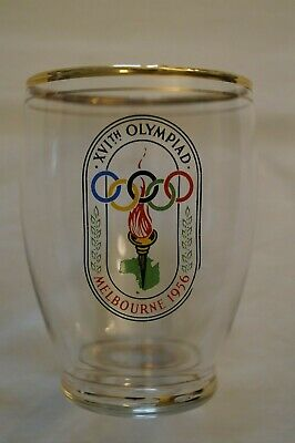 Olympic Games Collectable 1956 Melbourne Official Logo Olympic Glass