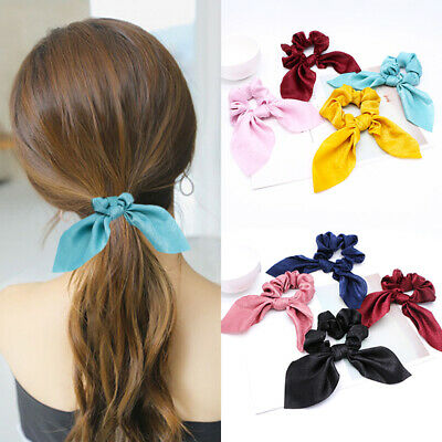 1PC Bow Hair Scrunchies Ring Rope Tie Satin Silk Ponytail Holder Solid Color